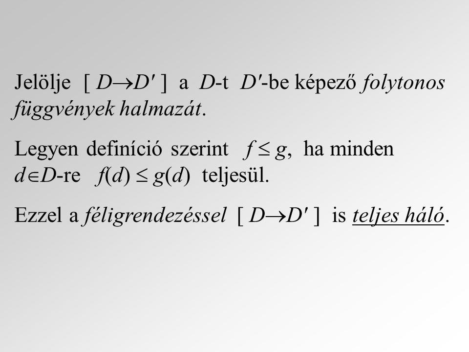 Jelölje [ DD ] a D-t D -be képező folytonos függvények halmazát.